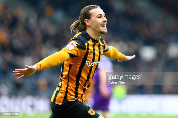 Jackson Irvine of Hull City celebrates scoring during the Sky Bet Championship match between Hull City and Norwich City at KCOM Stadium on March 10...