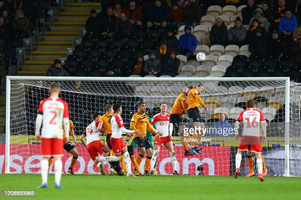 Jackson Irvine of Hull City heads the ball away during the Sky Bet Championship match between Hull City and Barnsley at KCOM Stadium on February 26...