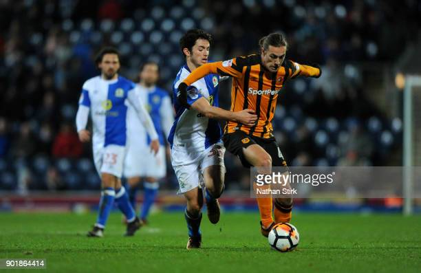 Jackson Irvine of Hull City in action during The Emirates FA Cup Third Round match between Blackburn Rovers and Hull City at Ewood Park on January 6...