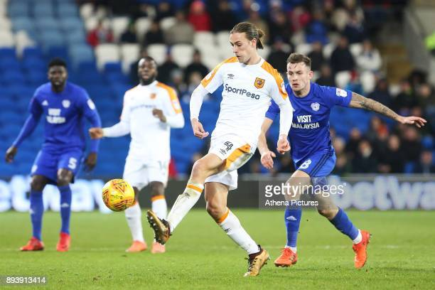 Jackson Irvine of Hull City is marked by Joe Ralls of Cardiff City during the Sky Bet Championship match between Cardiff City and Hull City at the...