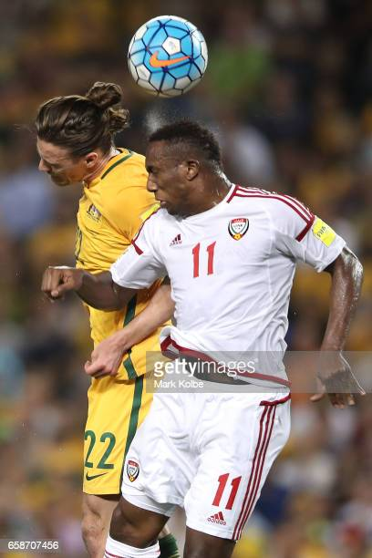 Jackson Irvine of the Socceroos and Ahmed Khalil of the United Arab Emirates compete for the ball during the 2018 FIFA World Cup Qualifier match...