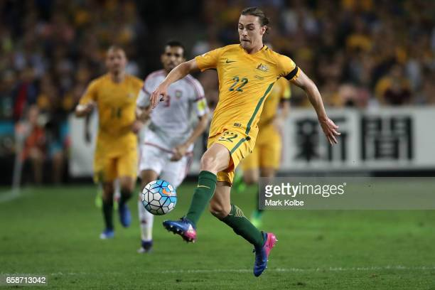 Jackson Irvine of the Socceroos controls the ball during the 2018 FIFA World Cup Qualifier match between the Australian Socceroos and United Arab...