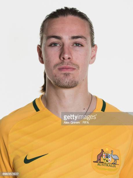 Jackson Irvine poses for a picture during the Australia team portrait session on June 15 2017 in Sochi Russia