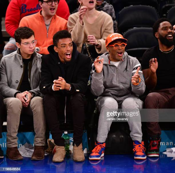 Jackson Lee and Spike Lee attend Brooklyn Nets v New York Knicks game at Madison Square Garden on January 26 2020 in New York City