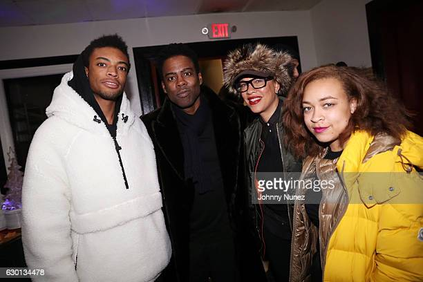 Jackson Lee Chris Rock Tonya Lewis Lee and Satchel Lee attend the She's Gotta Have It Holiday Throwdown on December 16 2016 in New York City
