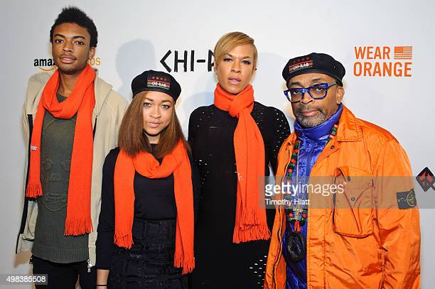 Jackson Lee Satchel Lee Tonya Lee and Director Spike Lee attend the world premiere of ChiRaq at The Chicago Theatre on November 22 2015 in Chicago...