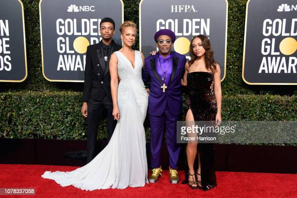 Jackson Lee, Tonya Lewis Lee, Spike Lee, and Satchel Lee attend the 76th Annual Golden Globe Awards at The Beverly Hilton Hotel on January 6, 2019 in...