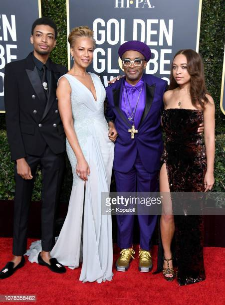 Jackson Lee Tonya Lewis Lee Spike Lee and Satchel Lee attend the 76th Annual Golden Globe Awards at The Beverly Hilton Hotel on January 6 2019 in...