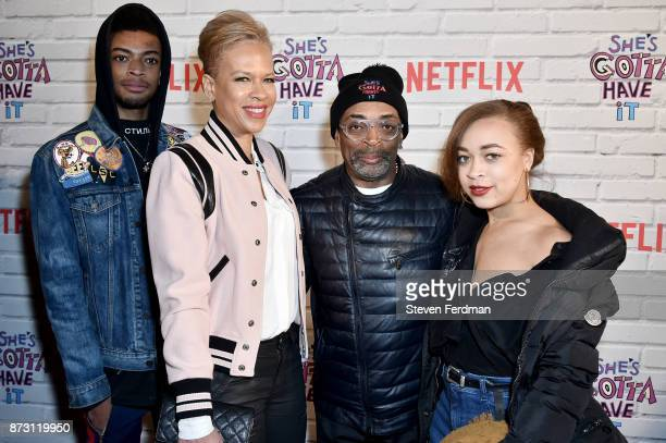 Jackson Lee Tonya Lewis Lee Spike Lee and Satchel Lee attend the Netflix Original Series She's Gotta Have It Premiere at Brooklyn Academy of Music on...