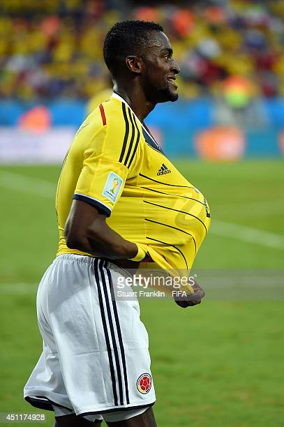 Jackson Martinez of Colombia celebrates scoring his team's second goal during the 2014 FIFA World Cup Brazil Group C match between Japan and Colombia...