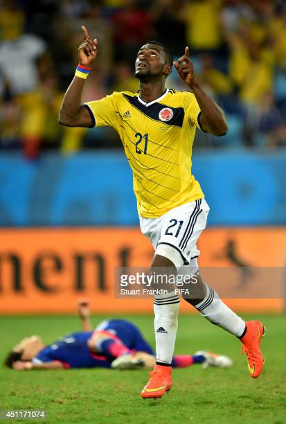 Jackson Martinez of Colombia celebrates scoring his team's third goal during the 2014 FIFA World Cup Brazil Group C match between Japan and Colombia...