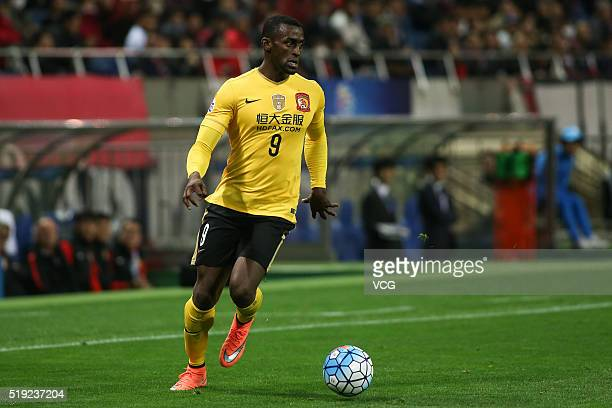 Jackson Martinez of Guangzhou Evergrande drives the ball during the AFC Champions League Group H match between Urawa Red Diamonds and Guangzhou...