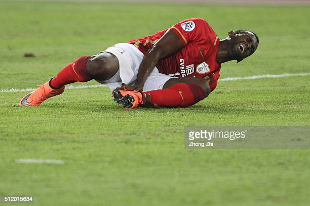 Jackson Martinez of Guangzhou Evergrande injures during AFC Champions League Group H match between Guangzhou Evergrande FC and Pohang Steelers at...