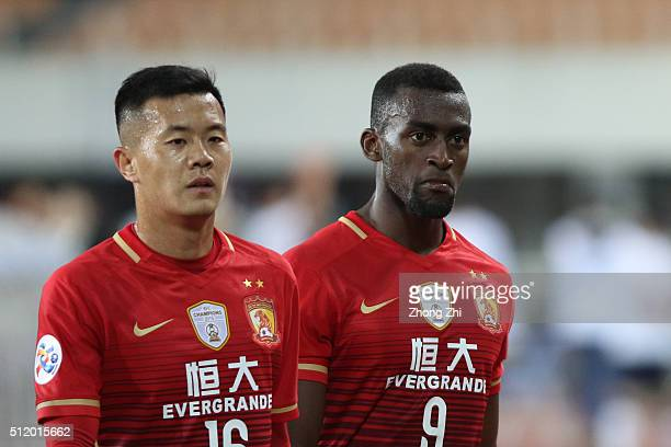 Jackson Martinez of Guangzhou Evergrande reacts during AFC Champions League Group H match between Guangzhou Evergrande FC and Pohang Steelers at...