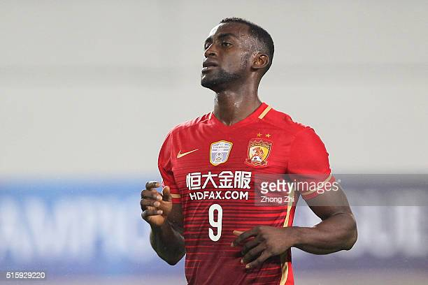 Jackson Martinez of Guangzhou Evergrande reacts during the AFC CHampions League match between Guangzhou Evergrande and Urawa Red Diamonds on March 16...