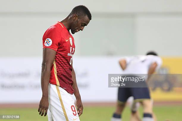 Jackson Martinez of Guangzhou Evergrande reacts during the Asian Champions League match between Guangzhou Evergrande and Pohang Steelers at Tianhe...