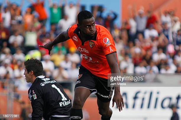 Jackson Martinez of Jaguares celebrates a scored goal during a match against Pumas as part of the Apertura 2011 at Victor Manuel Reyna Stadium on...