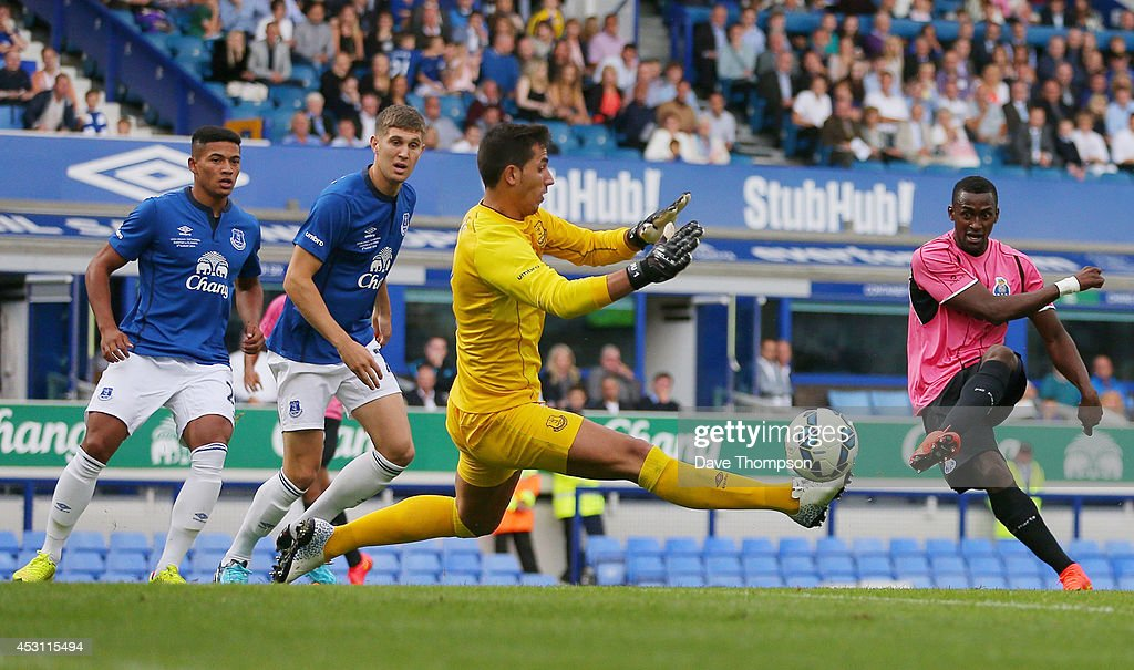 Jackson Martinez of Porto scores against Everton during the Pre-Season Friendly between Everton and Porto at Goodison Park on August 3, 2014 in Liverpool, England.