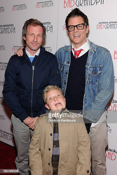 Jackson Nicoll poses with Spike Jonze and Johnny Knoxville at 'Jackass Presents Bad Grandpa' New York special screening at Sunshine Landmark on...