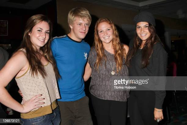 Jackson Odell Katie Bickerstaff and guest attend the Starlight Children's Foundation's celebrity bowling event on September 25 2011 in Cerritos...