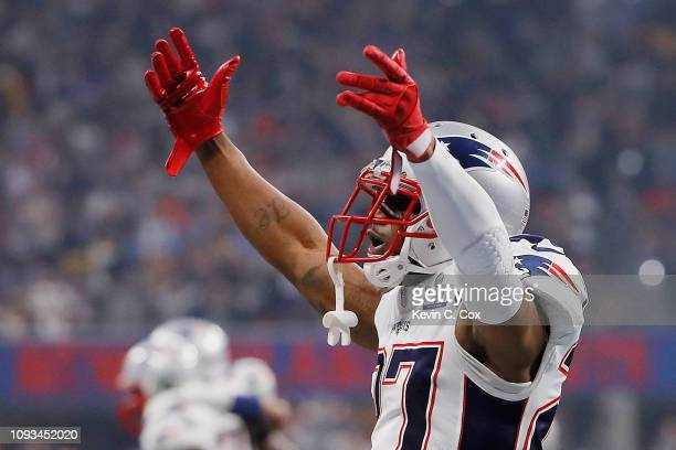C Jackson of the New England Patriots celebrates in the second half during Super Bowl LIII against the Los Angeles Rams at MercedesBenz Stadium on...
