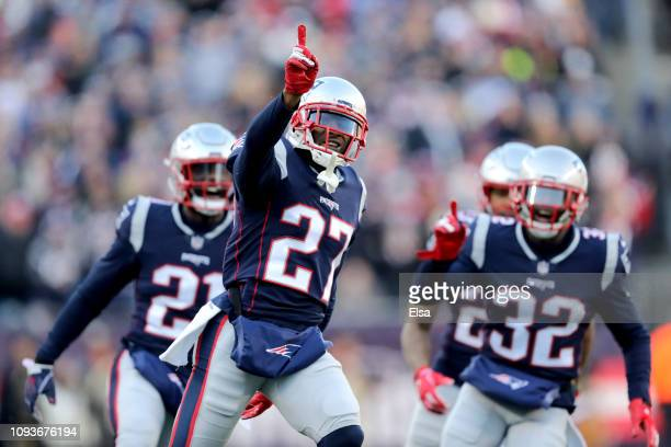 C Jackson of the New England Patriots reacts during the second quarter in the AFC Divisional Playoff Game against the Los Angeles Chargers at...