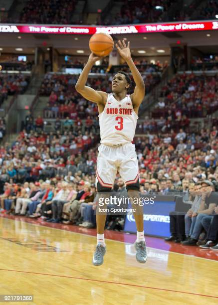 J Jackson of the Ohio State Buckeyes shoots a three point basket during the game between the Ohio State Buckeyes and the Rutgers Scarlet Knights at...