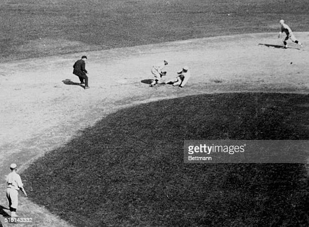 Jackson out at second on a steal in the sixth inning of the opening game of the World Series in Cincinnati in 1919-- the crooked World Series....