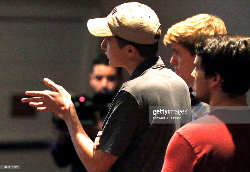 Jackson Overton, 18, an Southern Methodist University student, asks a question of conservative media activist James O'Keefe at an event hosted by the SMU chapter of Young Americans for Freedom, a campus organization started by William F. Buckley in 1960, at the Hughes-Trigg Student Center on November 29, 2017 on the SMU campus in Dallas, Texas. O'Keefe is head of Project Veritas, a right-wing media activist group that found itself in the news this week after a woman was seen entering the offices of the organization after trying to convince Washington Post reporters that she had been sexually assaulted by U.S. Senate candidate Roy Moore of Alabama when she was 15 years old and then driven by Moore to Mississippi for an abortion.