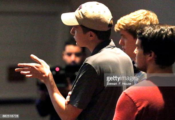 Jackson Overton an Southern Methodist University student, asks a question of conservative media activist James O'Keefe at an event hosted by the SMU...