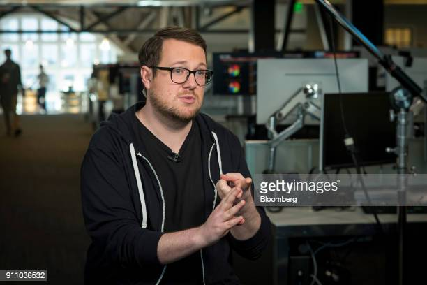 Jackson Palmer cofounder of Dogecoin speaks during a Bloomberg Technology television interview in San Francisco California US on Monday Jan 22 2018...