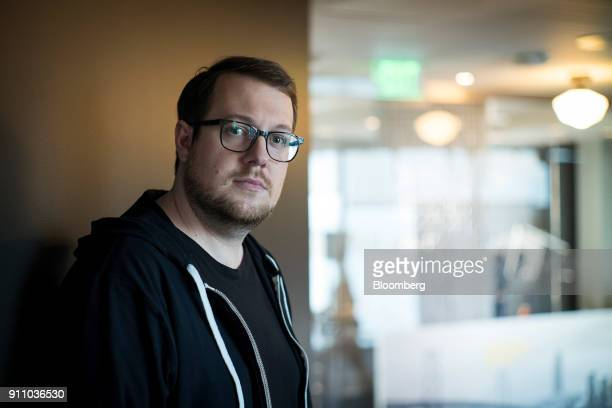 Jackson Palmer cofounder of Dogecoin stands for a photograph after a Bloomberg Technology television interview in San Francisco California US on...