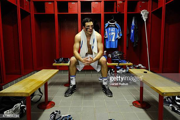 Jackson Place of the Ohio Machine prepares in the locker room prior to a game against the Charlotte Hounds at Selby Stadium on May 16 2015 in...