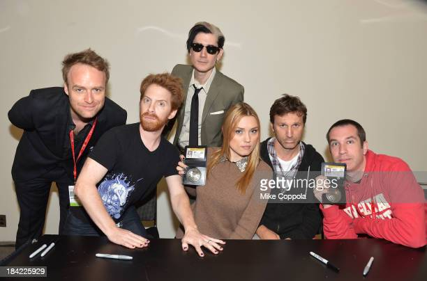 Jackson Publick Seth Green Doc Hammer Clare Grant Breckin Meyer and Matthew Senreich attend the Robot Chicken Signing during New York Comic Con 2013...