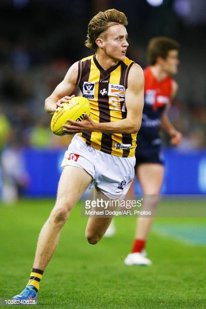 Jackson Ross of the Box Hill Hawks runs with the ball during the VFL Grand Final match between Casey and Box Hill at Etihad Stadium on September 23...