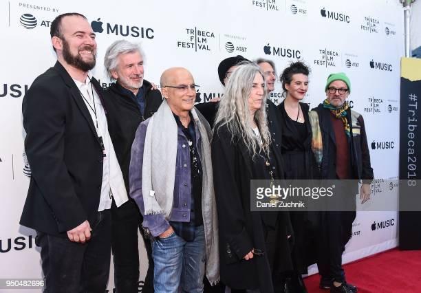Jackson Smith Tony Shanahan Jimmy Iovine Patti Smith Jesse Smith Steven Sebring Lenny Kaye and Michael Stipe attend the screening of 'Horses Patti...