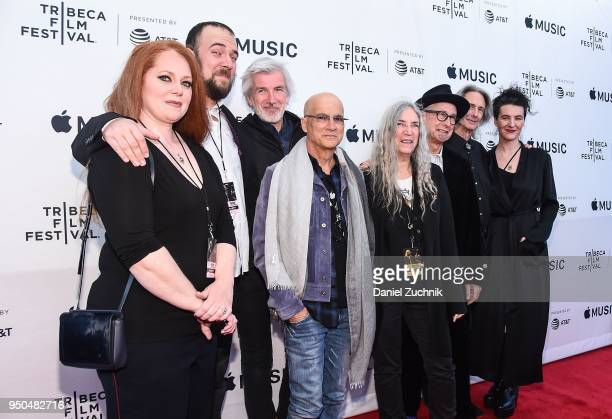 Jackson Smith Tony Shanahan Jimmy Iovine Patti Smith Lenny Kaye and Jesse Smith attend the screening of 'Horses Patti Smith and Her Band' during the...