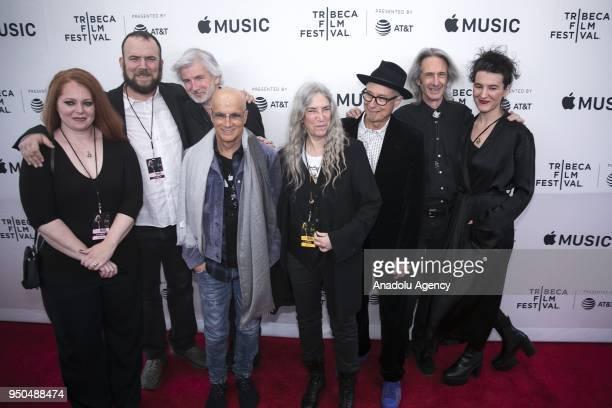 Jackson Smith Tony Shanahan Jimmy lovine Patti Smith Jay Dee Daugherty Lenny Kaye Patti Smith's daughter Jesse Smith attend a screening of 'Horses'...