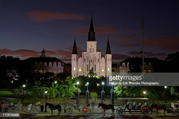 jackson square at dusk - new orleans french quarter stock photos and pictures