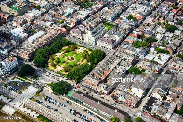 jackson square from above - new orleans stock pictures, royalty-free photos & images