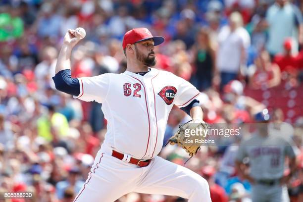 Jackson Stephens of the Cincinnati Reds pitches in the first inning of a game against the Chicago Cubs at Great American Ball Park on July 1 2017 in...