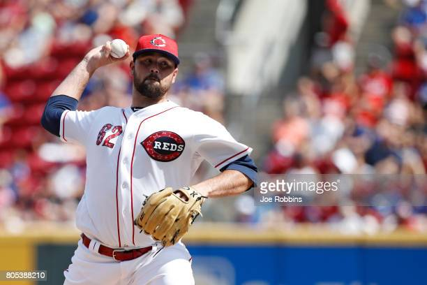 Jackson Stephens of the Cincinnati Reds pitches in the second inning of a game against the Chicago Cubs at Great American Ball Park on July 1 2017 in...