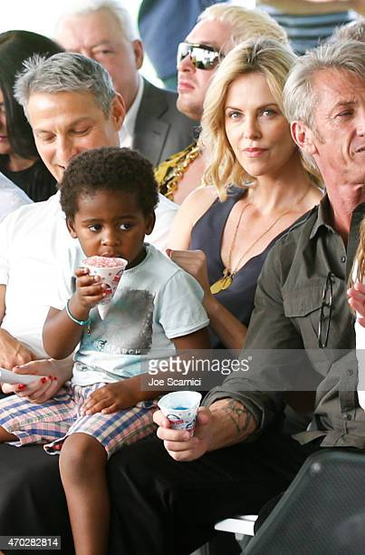 Jackson Theron and actress Charlize Theron attend the Points of Light generationOn Block Party on April 18 2015 in Los Angeles California