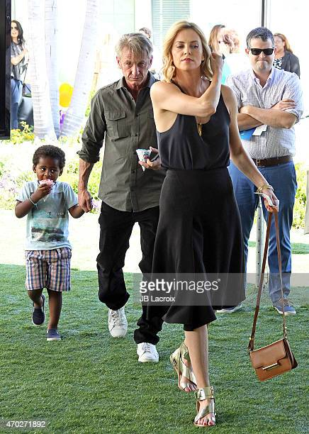 Jackson Theron Sean Penn and Charlize Theron attends the generationOn West Coast Block Party on April 18 2015 in Beverly Hills California