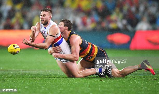 Jackson Trengove of the Bulldogs handballs under pressure from Josh Jenkins of the Adelaide Crows during the round nine AFL match between the...