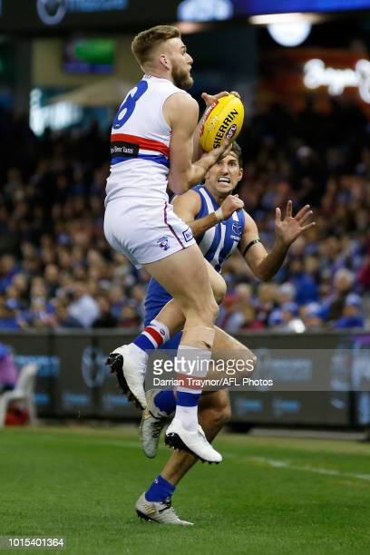 Jackson Trengove of the Bulldogs marks the ball as Jarrad Waite of the Kangaroos applies a heavy bump during the round 21 AFL match between the North...