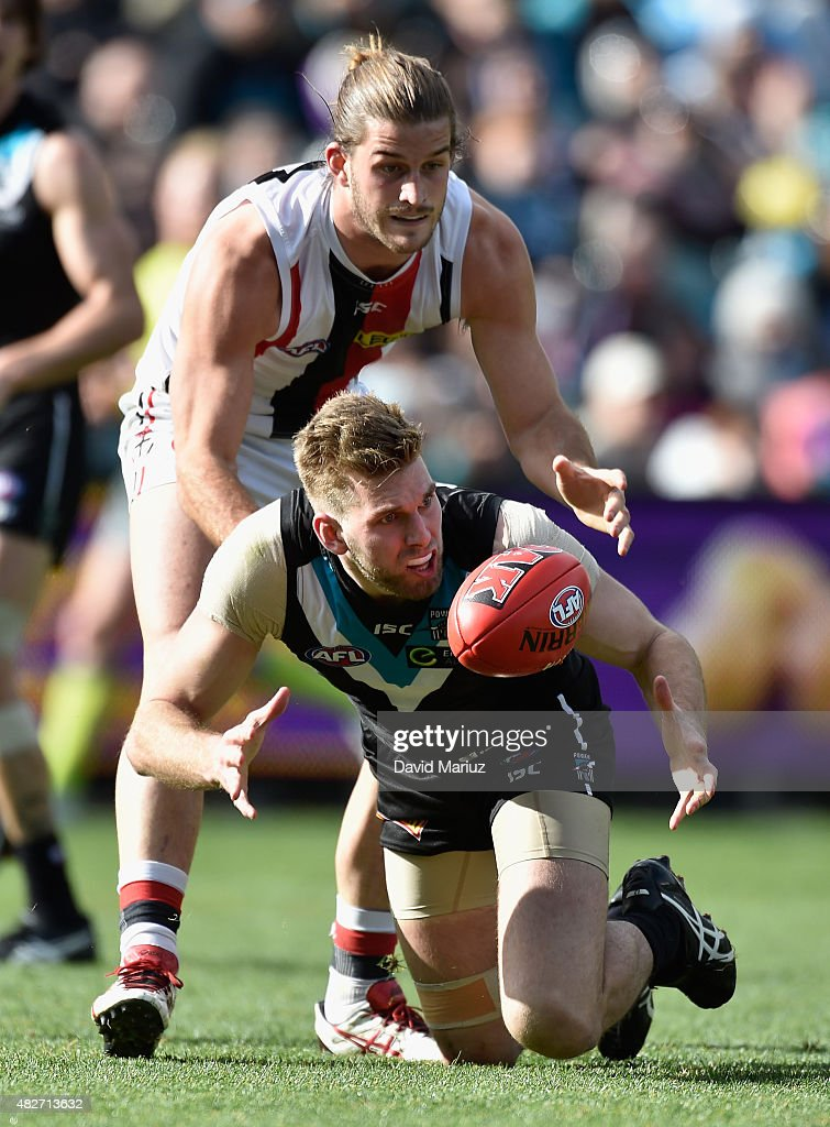 Jackson Trengove of the Power and Josh Bruce of the Saints during the round 18 AFL match between the Port Adelaide Power and the St Kilda Saints at Adelaide Oval on August 2, 2015 in Adelaide, Australia.