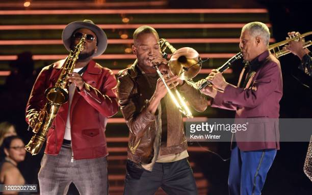 Jackson Trombone Shorty with Charlie Gabriel of Preservation Hall Jazz Band performs onstage during the 62nd Annual GRAMMY Awards at STAPLES Center...
