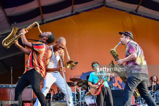 Jackson, Troy Andrews aka Trombone Shorty, Pete Murano, Dan Oestreicher and Joey Peebles perform during the 2019 New Orleans Jazz & Heritage Festival...