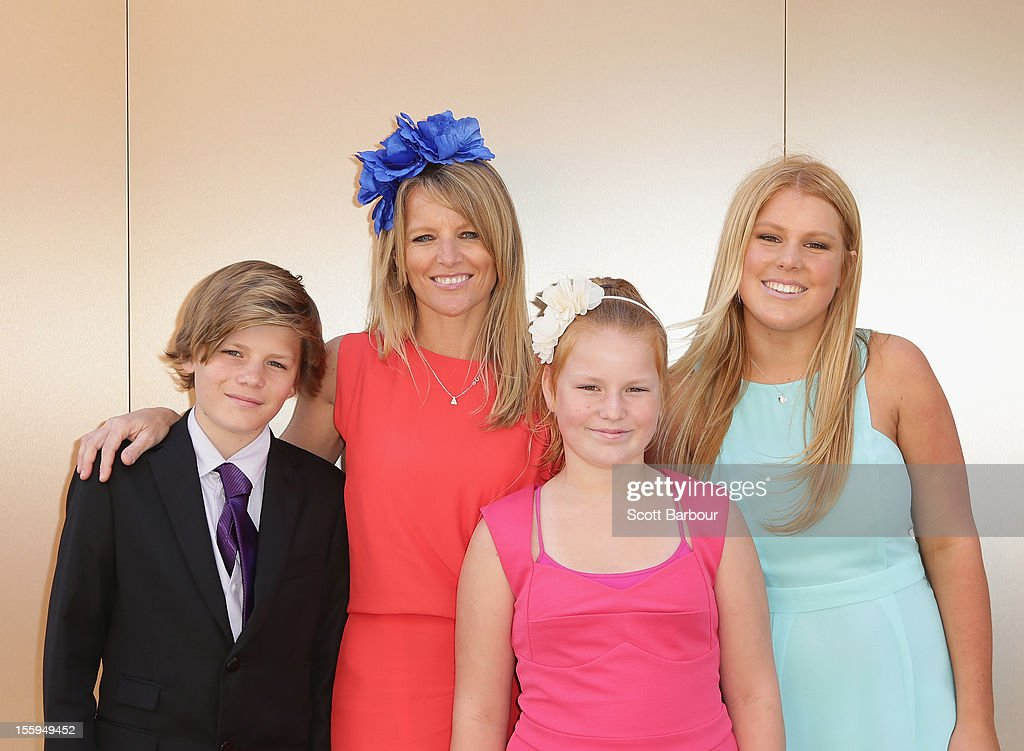 Jackson Warne, Simone Callahan, Summer Warne and Brooke Warne attend Stakes Day at Flemington Racecourse on November 10, 2012 in Melbourne, Australia.